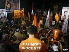 A pro-Fujimori rally in Lima on 6 April