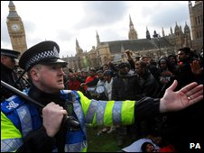 Police officer at Tamil protest