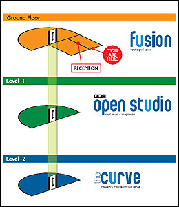 Floor plan of Fushion, BBC Open Studio and the Curve at The Forum, Norwich