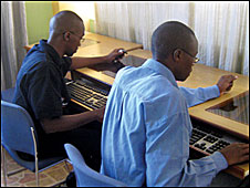 Kenyan students using computers