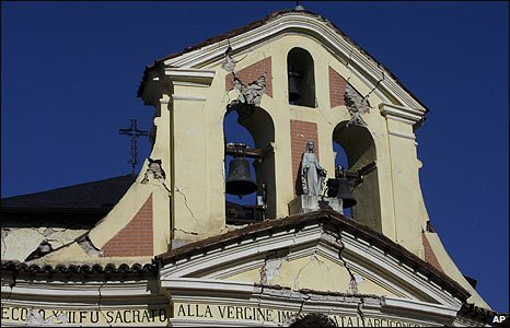 Damaged Church of the Conception in Paganica, central Italy