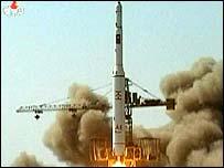 Image grab of North Korean TV showing apparent rocket launch
