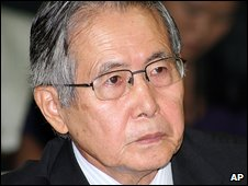 Alberto Fujimori at the trial (7 April)