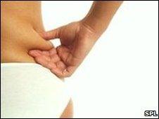 Woman pinching waist