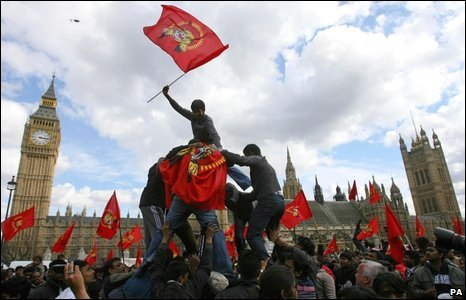 Protesters wave flags in Westminster