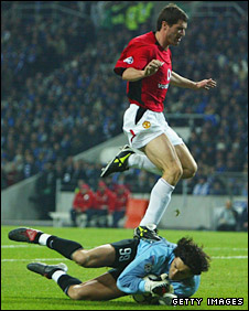 Roy Keane was sent off in the first leg for this challenge on Vitor Baia