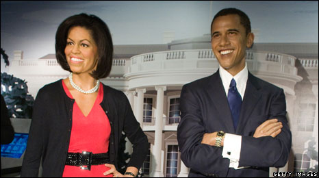 Waxworks of Michelle and Barack Obama at Madame Tussaud's in Washington DC