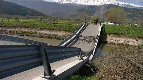 Broken bridge near Fossa, Italy