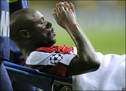 Gallas leaves on a stretcher