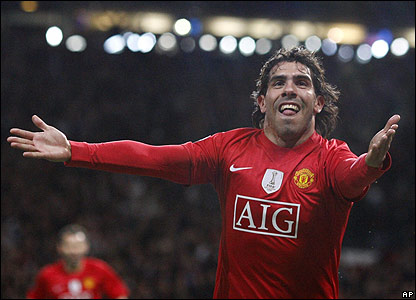Tevez scores in the 86th minute