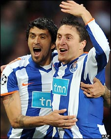 Cristian Rodriguez celebrates scoring for Porto