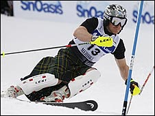 Baxter skied the slalom course at the British Championships in a kilt