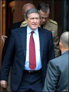 Richard Holbrooke after a meeting with Indian officials in Delhi