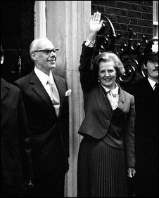 Margaret Thatcher enters No 10 Downing street as Prime Minister in May 1979