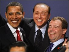 Obama,Berlusconi and Medvedev enjoying the G20 summit