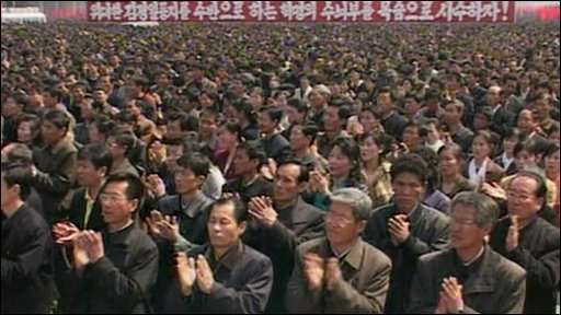 North Koreans celebrate launch