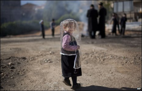 A Jewish girl at a pre-Passover ceremony in Jerusalem
