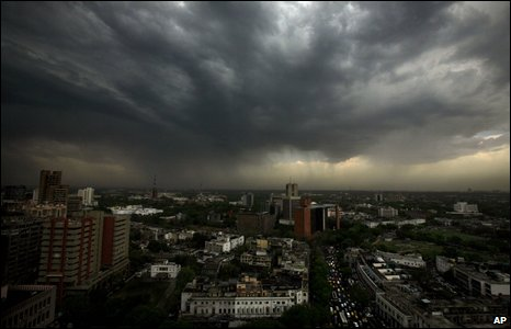Rain clouds over Delhi