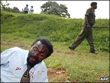 A Ugandan man beaten during protests in Kampala in November 2007 during the Commonwealth Heads of Government Meeting in the capital