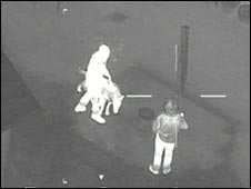 Thermal image of people with a laswer