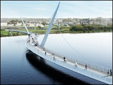 Artist's impression of the footbridge across the Foyle