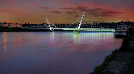 An artist's impression of the new footbridge by night