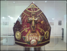 The mitre for the Bishop of London 1996 on display in the centre