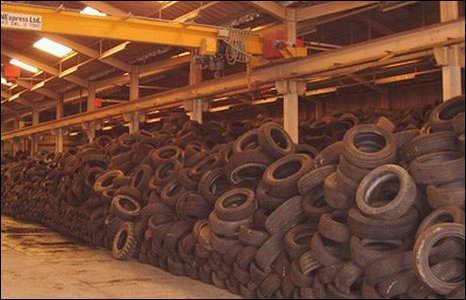 The tyres found dumped at Hirwaun