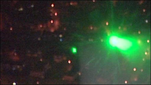 Laser viewed from helicopter