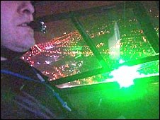 Laser shining in helicopter cockpit