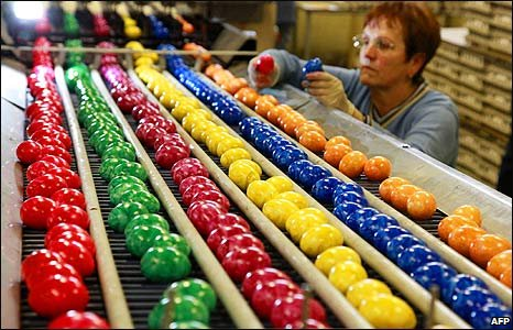Easter eggs at a factory in eastern Germany