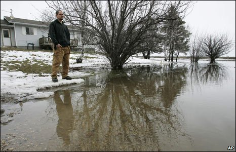 Flood water in St Jean Baptiste, Manitoba, Canada