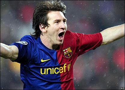 Messi celebrates his goal
