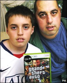 Jamie and Richard Thornhill with the Grand Theft Auto game