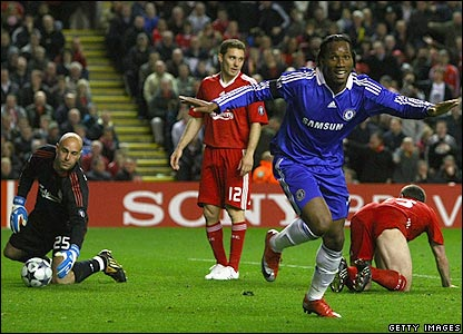 Drogba celebrates as Liverpool's defence rue their failure to keep him out