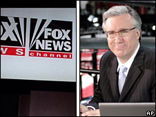 The Fox News logo and MSNBC's Keith Olbermann