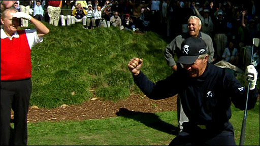 Gary Player celebrates after a 'hole-in-one' with his second shot off the tee