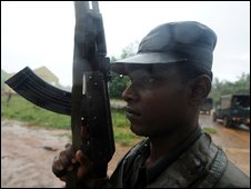 A Sri Lankan soldier during the recent fighting in Mullaitivu.