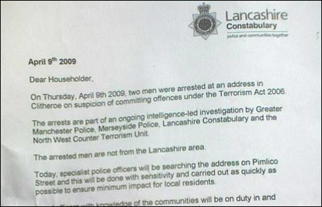 A letter from Lancashire police