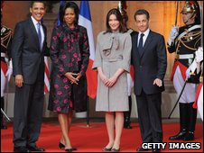 The Obamas with the French president and his wife
