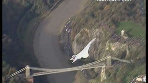 Concorde flies over the Clifton Suspension Bridge