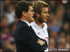 David Beckham and Fabio Capello