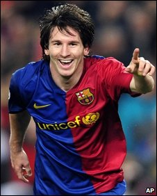 Barcelona's Lionel Messi after scoring in the 4-0 win over Bayern Munich