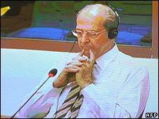 A video grab of Francois Bizot testifying at the tribunal in Cambodia