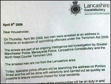A letter to reassure residents near the terror arrests