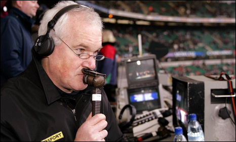 Eddie Butler commentating at the Millennium Centre