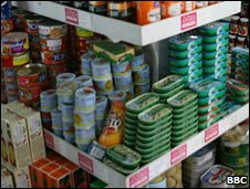 Tinned food in a shop
