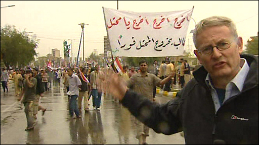 The BBC's Jim Muir at rally in Baghdad