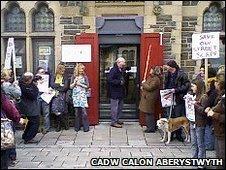 The protest by Cadw Calon Aberystwyth