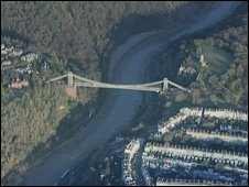 Aerial view of Clifton suspension Bridge